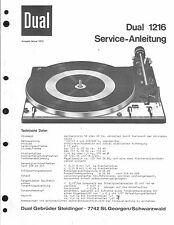 Dual Service Manual für 1216