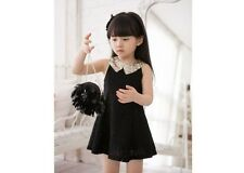 Creative Girls Kids Princess Party White/Black Lace Bow Dress 2-7Y Clothes