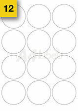240 (63mm Diameter) White Round A4 Printer Labels L7630. Circle Printing Sticker