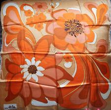 Foulard Carré Vintage Seventies 70's Grosses Fleurs Création ELLE AIME