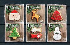 Gibraltar 2016 estampillada sin montar o nunca montada Galletas Navidad 6v Set Adornos Decoraciones sellos