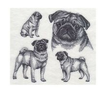 Completed Embroidery Sketch Style Pug Dog