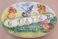 NEW (2) RAE DUNN BY MAGENTA COLORFUL SPRING EASTER GREETING CHICK OVAL PLATES