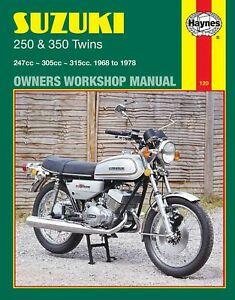 Suzuki T250 GT250 T305 GT350 Haynes Manual de Taller Nuevo En Inglés