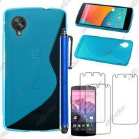 Housse Etui Coque Silicone S-line Bleu LG Nexus 5 E980 + Stylet + 3 Film écran