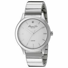 Kenneth Cole 10024370 Lady's White Dial Diamond SS Bracelet Watch