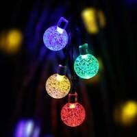 50 Multi LED Solar Power Fairy Lights Crystal Ball Garden Outdoor Xmas Party Ace