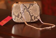 Judith Leiber OVERTURE PYTHON EMBOSS LEATHER CASSANDRA SNAKE CLUTCH SHOULDER BAG