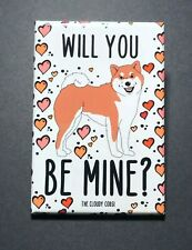 Shiba Inu Valentines Day Magnet Handmade Holiday Dog Gift and Kitchen Home Decor