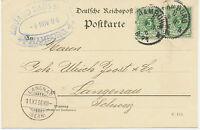 """DT.REICH """"HAMBURG / 8."""" K1 a. Kab.-Postkarte nach """"LANGNAU / (BERN)"""" Schweiz"""