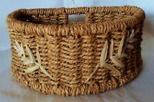 Rustic Basket Container Half Semi Circle Debenhams Embroidered Seagrass