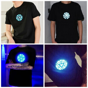 LED T-shirt Iron Man Sound Activated Arc Reactor Light Up Cosplay Costume USA