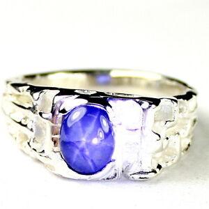 NATURAL BLUE STAR SAPPHIRE Sterling Silver Men's Ring, Handmade • SR197