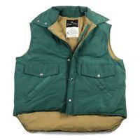 Golden Fleece Womens L Goose Down Vest Green Tan Zip Snap Up Pockets Collared
