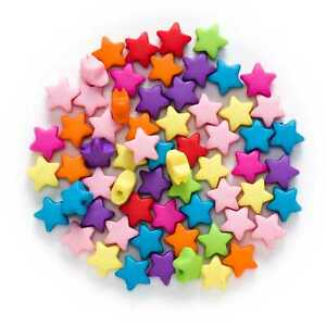 50 Piece Random Mixed Multicolor Acrylic Star Spacer Beads Jewelry Making 12x6mm