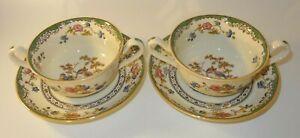 2 Vintage Copeland Spode Eden Exotic Bird Soup Bowls Coupes Patt 2655 1950s VGC