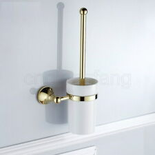 Polished Gold Wall Mounted Lavatory Bathroom Brush Toilet Brush & Holder Set