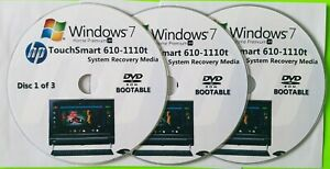 HP TouchSmart 610-1110t Factory Recovery Media 3-Discs / Windows 7 Home 64-bit