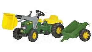 Rolly Toys - John Deere Ride on Pedal Tractor with Loader & Trailer Age 2 1/2