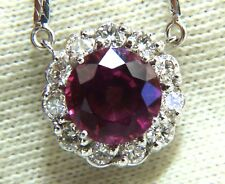 5.10ct Natural Tourmaline Diamonds Halo Cluster Necklace 14 Karat