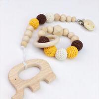 Elephant Wooden Crochet Beads Baby Dummy Pacifier Clip Bracelet Rattle Toys Set