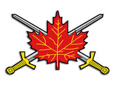3x5 in Canadian Army Leaf w Crossed Swords SHAPED Sticker -decal military canada