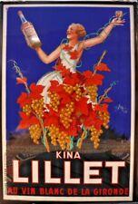 Affiche publicitaire antiquité KINA LILLET ORIGINALE