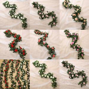 8ft Artificial Flower Silk Rose Leaf Garland Vine Ivy Home Wedding Garden Decor