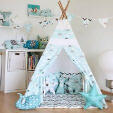 Children Indoor Tent Blue Cloud Kids PlayRoom Indian Teepee Playhouse (AA)