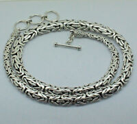 GRADUATING Byzantine HEAVY Chain Necklace 925 Sterling Silver 20 Inch  78 gms