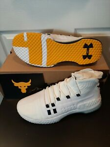 Size 12 Mens Under Armour Project Rock 1 White Gold 3020788-108 shoes