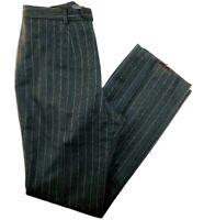 "Banana Republic Gray Pinstripe Lined Wool Straight Leg Pants Sz 8 28x31"""