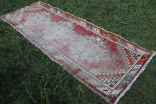"Vintage Handmade Turkish Oushak Distressed Red  Runner Rug 112""x38"""