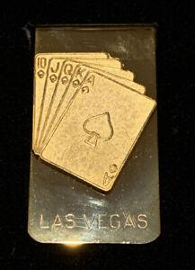 NEW VINTAGE GOLD FINISH LAS VEGAS POKER MONEY CLIP Original Box Engraved Peter !