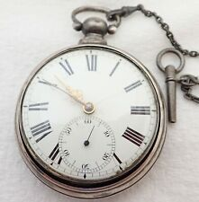 Antique Davis & Watson Boston Coin Silver Key Wind Fusee Pocket Watch