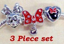 Disney Minnie Mouse head Polka Dot red bow Heart Mickey European charm bracelet
