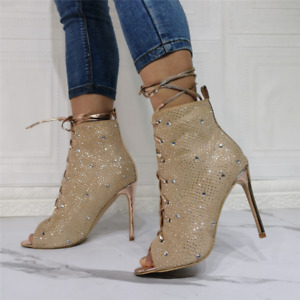 Fashion Womens Rhinestone Boot Peep Toe Stiletto High Heel Lace Up Sandal Party