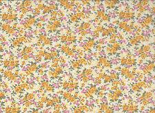 Cream / Gold  Floral Polycotton Fabric