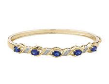 Created Blue Sapphire Bangle w/Diamonds in St.Silver w/14K YG