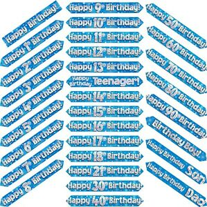 9ft Blue & Silver Holographic Foil Party Birthday Banner Decoration