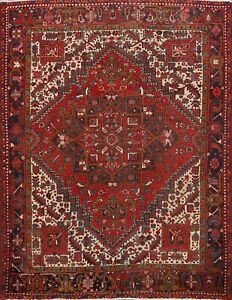 Geometric Semi-Antique Heriz Handmade Area Rug Wool Oriental Carpet 8'x8' Square
