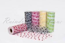 """Tutu Nylon Tulle Rolls 6"""" x 10 yards POLKA DOTS soft netting craft fabric"""