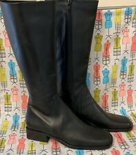 Women's NICKELS Black LEATHER Tall Riding Dress Boots 8 Narrow & Narrow Calf