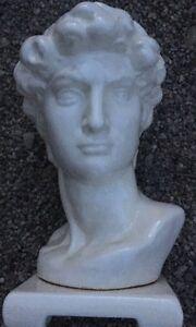 """VTG 14"""" Life Size? Michelangelo King David Bust Sculpture HEAD CERAMIC PORCELAIN"""