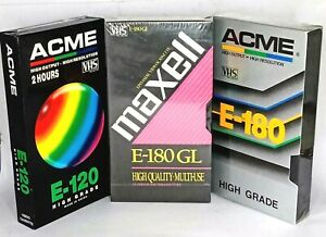 Maxell & ACME VHS Blank Video Tapes Lot - 3 x Blank Tapes Still Sealed