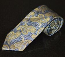 "New Jos. A BANK Signature Gold Silk Tie Paisley Blue Silver  59"" 3.75""  Self Tip"