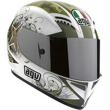 NEW AGV T-2 MOTORCYCLE HELMET WARRIOR MILITARY GRAPHIC WHITE GREEN GOLD S SMALL