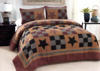 PRAIRIE STAR 3pc FULL QUEEN QUILT SET : PRIMITIVE CABIN RUSTIC RED PLAID STAR