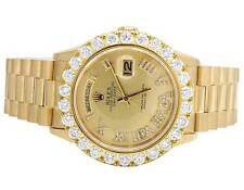 Mens Rolex Presidential 18K Yellow Gold 36MM Day-Date 18038 Diamond Watch 7.2 Ct