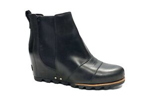 SOREL Lea Wedge Ankle Boots Womens Size 9 Black Leather Slip On Booties